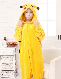 Fashion Yellow Pikachu Shape Decorated Pure Color Nightgown