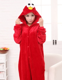 Fashion Red Eyes Shape Decorated Pure Color Nightgown