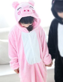 Fashion Pink Pig Shape Decorated Pure Color Chid Nightgown