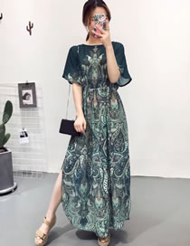 Fashion Navy Flower Pattern Decorated Split Design Long Dress