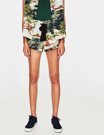Fashion Green Flower Pattern Decorated Simple Women's Shorts