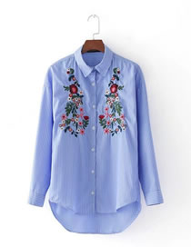 Fashion Blue Embroidery Flower Decorated Simple Shirt