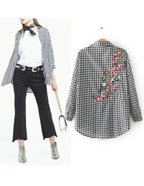 Fashion Black+white Gride Pattern Decorated Long Sleeves Shirt