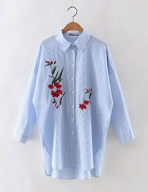 Fashion Yellow Embroidery Flower Decorated Long Sleeves Shirt