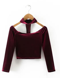 Fashion Claret Red Pure Color Decorated Off-the-shoulder T-shirt