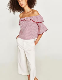 Fashion Red Stripe Pattern Decorated Off Shoulder Shirt