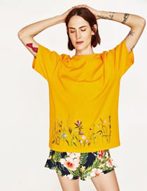 Fashion Yellow Embroidery Flower Decorated Short Sleeves Shirt
