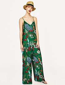 Fashion Green Flower Pattern Decorated Simple Suspender Jumpsuit
