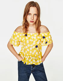 Fashion Yellow Pure Color Decorated Off Shoulder Shirt
