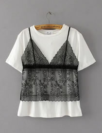 Fashion Black+white Lace Decorated Short Sleeves T-shirt (2pcs)