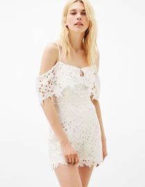 Fashion White Pure Color Decorated Lace Suspender Dress