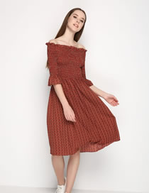 Fashion Dark Red Pure Color Decorated Off Shoulder Long Dress