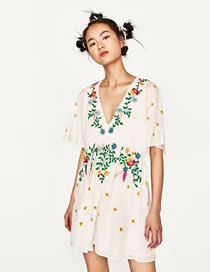 Fashion White Embroidery Flower Decorated V Neckline Dress