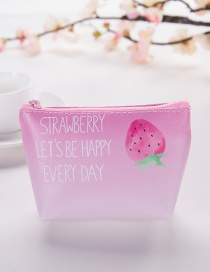 Elegant Pink Strawberry Pattern Decorated Pure Color Wallet