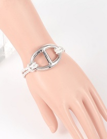 Fashion Silver Color Buckle Shape Decorated Pure Color Bracelet