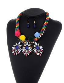 Fashion Multi-color Diamond Decorated Color Matching Pom Necklace