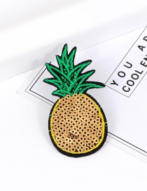 Trendy Yellow Sequins Decorated Pineapple Shape Simple Brooch