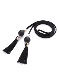 Trendy Black Tassel&bead Decorated Pure Color Simple Belt