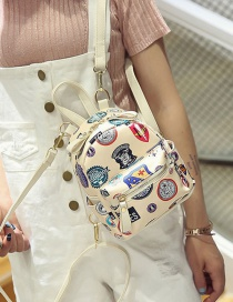 Fashion Beige Printing Mark Pattern Decorated Pure Color Backpack