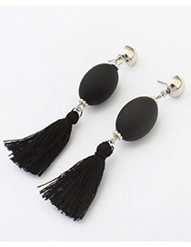 Retro Black Tassel Decorated Simple Long Chain Earrings
