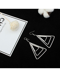 Fashion Silver Color Hollow Out Triangle Shape Pure Color Earrings