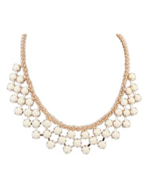 Sweet Beige Roound Shape Diamond Decorated Pure Color Necklace