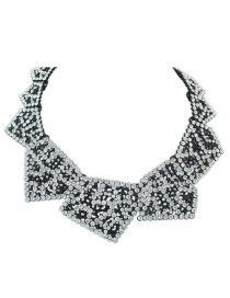 Elegant White Diamond Decorated Irregular Shape Design Necklace