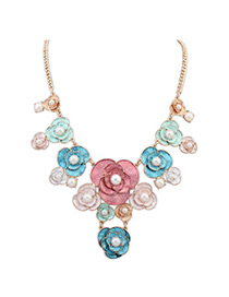 Sweet Multi-color Pearls&flower Decorated Color Matching Necklace