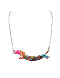 Elegant Multi-color Dog Shape Decorated Color Matching Simple Necklace