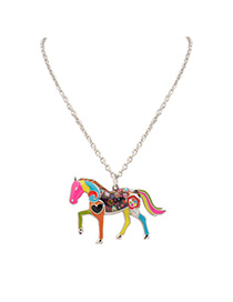 Fashion Multi-color Horsr Shape Decorated Color Matching Simple Necklace