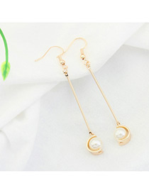 Fashion Champagne+white Imitation Pearl Decorated Color Mathing Design Earrings