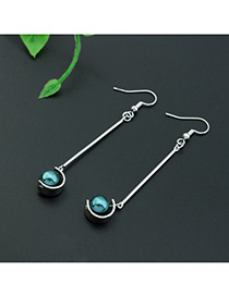 Fashion Silver Color +green Imitation Pearl Decorated Color Matching Design Earrings