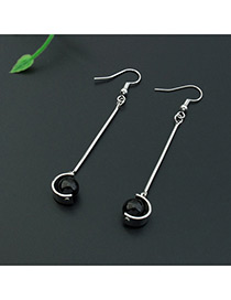Fashion Silver Color+black Imitation Pearl Decorated Color Matching Design Earrings