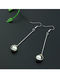 Fashion Silver Color+white Imitation Pearl Decorated Color Matching Design Earrings