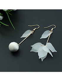 Fashion White Leaf&ball Shape Decorated Color Matching Simple Design Earrings
