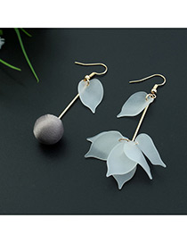 Fashion Coffee Leaf&ball Shape Decorated Color Matching Simple Design Earrings