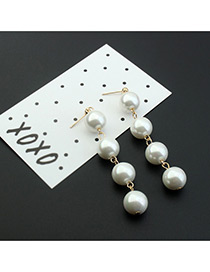 Elegant Champagne Imitation Pearl Decorated Tassel Design Simple Earrings