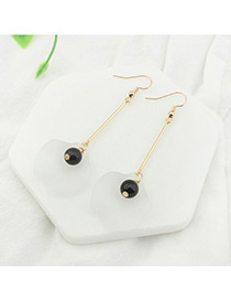 Trendy Champagne+black Leaf&pearl Shape Decorated Color Mathing Simple Earrings
