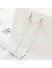 Elegant Mutli-color Wings Shape Decorated Tassel Design Color Matching Earrings