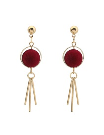 Trendy Claret Red Tassel Pendant Decorated Color Matching Simple Earrings