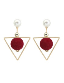 Fashion Claret Red Fuzzy Ball&triangle Shape Decorated Color Matching Earrings