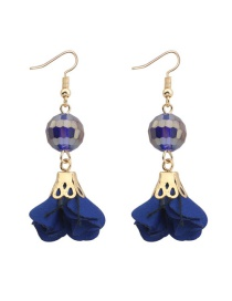 Fashion Sapphire Blue Flower&beads Decorated Pure Color Simple Earrings