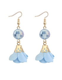 Fashion Light Blue Flower&beads Decorated Pure Color Simple Earrings