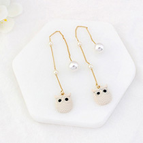Lovely Beige Metal Owl Pendant Decorated Simple Long Earrings