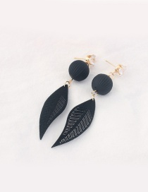 Trendy Black Leaf Pendant Decorated Color Matching Earrings