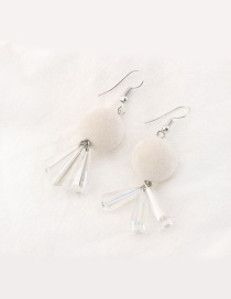 Trendy Milk White Fuzzy Ball Decorated Color Matching Earrings