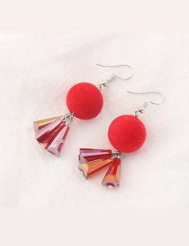 Trendy Red Fuzzy Ball Decorated Color Matching Earrings