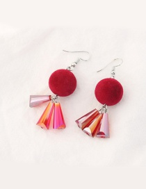 Trendy Dark Red Fuzzy Ball Decorated Color Matching Earrings