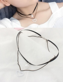 Elegant White Heart Shape&tpearl Decorated Double Layer Choker