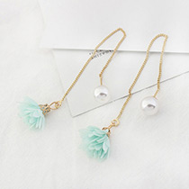 Fashion Light Green Flower&pearls Decorated Long Earrings
